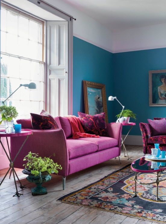 fuchsia and teal is a bold and saturated duo of colors to brighten up any space