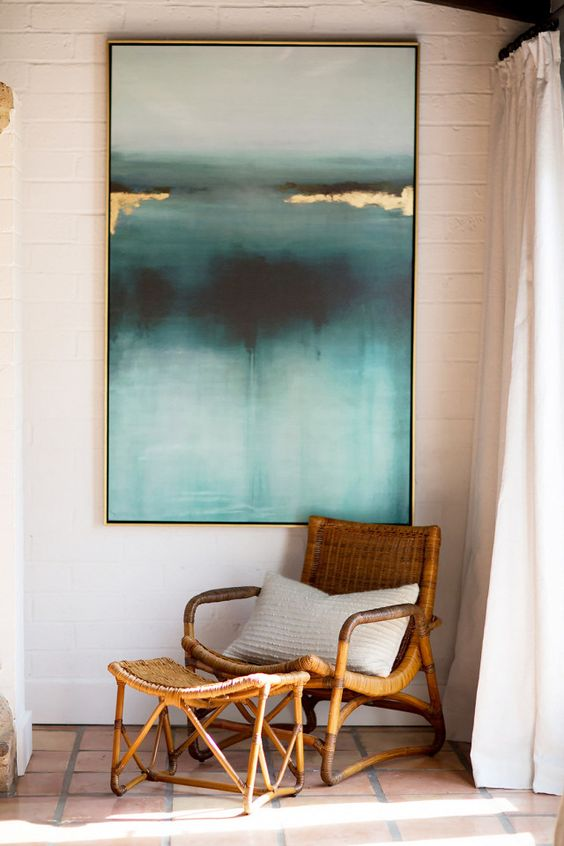 a bold and deep colored artwork is a great way to make an accent and spruce up the space