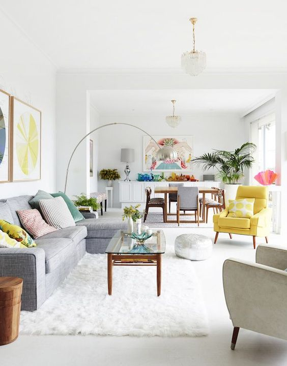 an open layout spruced up with rainbow colored touches and details throughout