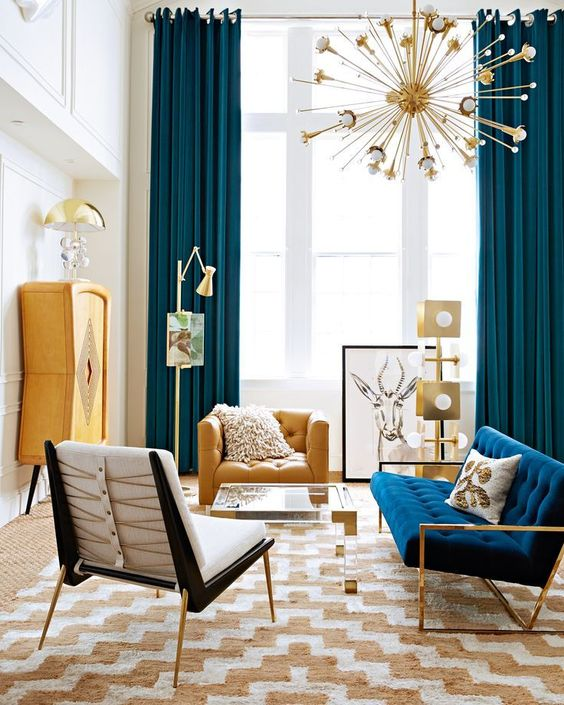 yellow, teal and navy accent for a bold and stylish mid-century modern space