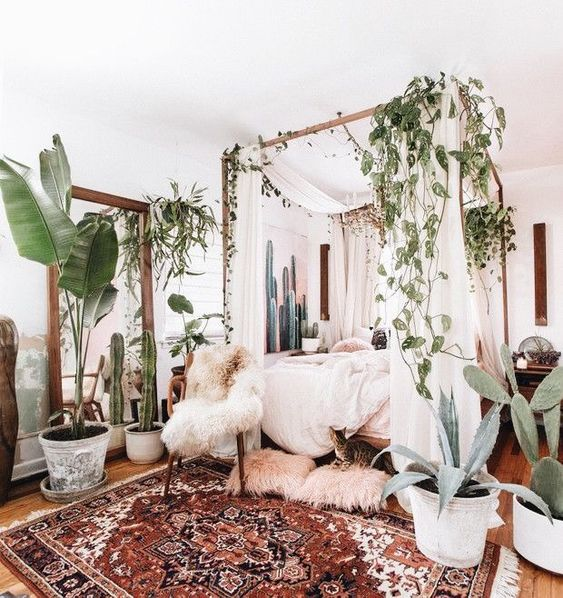 a boho rug, lots of greenery and cacti, faux fur and a canopy bed for a welcoming boho bedroom