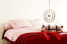 26 deep red and pink and white striped bedding set spruces up a neutral bedroom and raises the mood