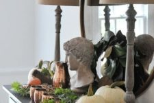 26 easy fall styling with white pumpkins, fresh greenery, copper mugs and a jug