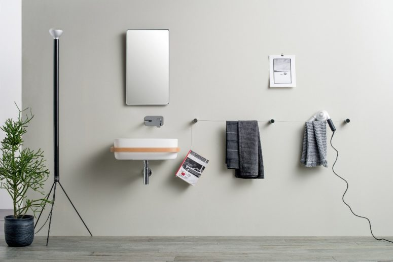 DOT is a modular multifunctional system for bathroom accessories, which is ideal for both small and large spaces