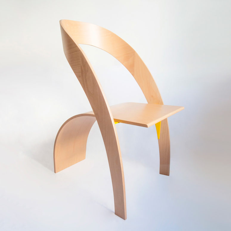 Counterpoise Plywood Chair With A Flowing Silhouette