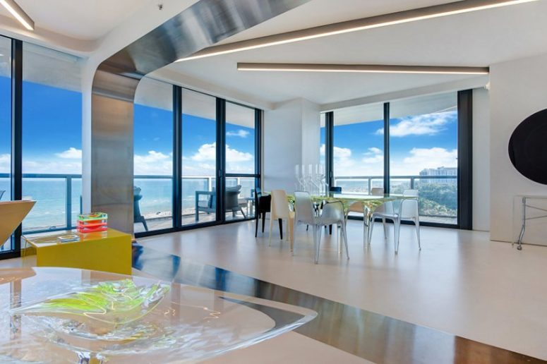 This gorgeous apartment with luxurious futuristic design belonged to famous Zaha Hadid and was designed and furbished by her herself