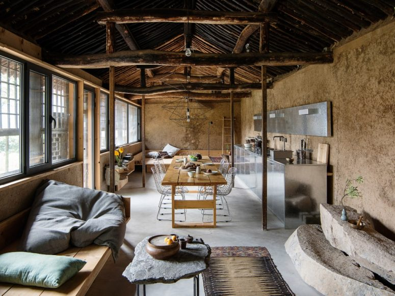 This is a vintage rural cottage in China that was renovated with contemporary furniture but retained its original features and charm