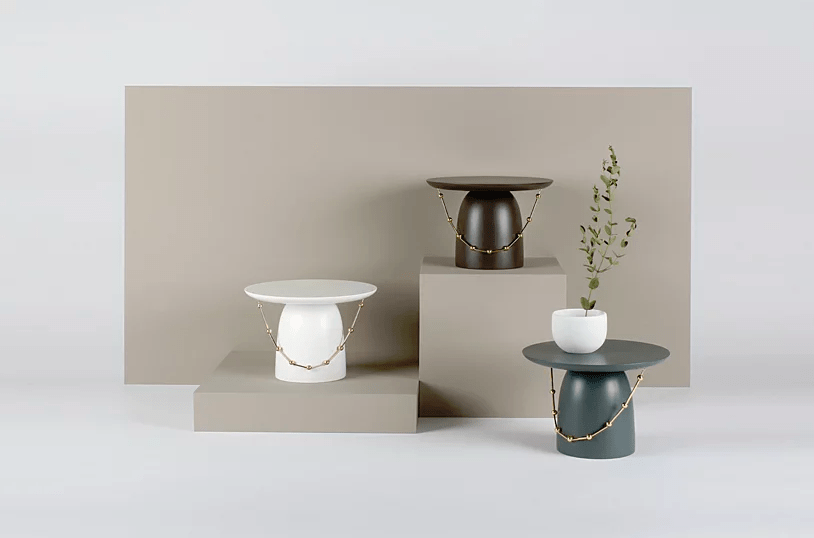 This side table collection is called Yang Ban and is inspired by traditional Korean hats and accessories