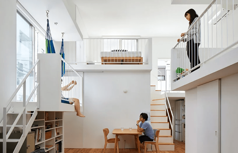 This ultra minimalist home in Japan features interesting splitting into levels and sublevels with inner balconies