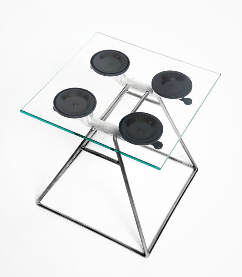 Edgy Suction Stool Of Glass And Metal
