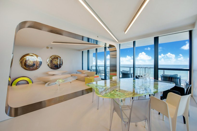 The apartment is 236 square meters, it features gorgeous futuristic touches and destails and amazing views of the Atlantic Ocean