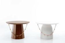 02 The shape of the tables is also inspired by traditional Korean tables and the pieces are decorated with beads to remind of the hats