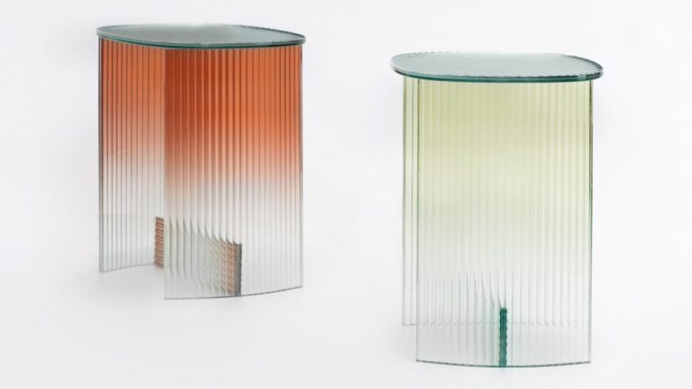 There are gradient glass side tables that look really edgy