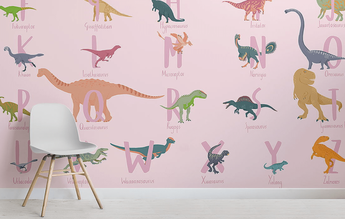 There are neutral, pink and blue wallpaper to fit different rooms