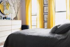 bedroom with lavender and yellow touches