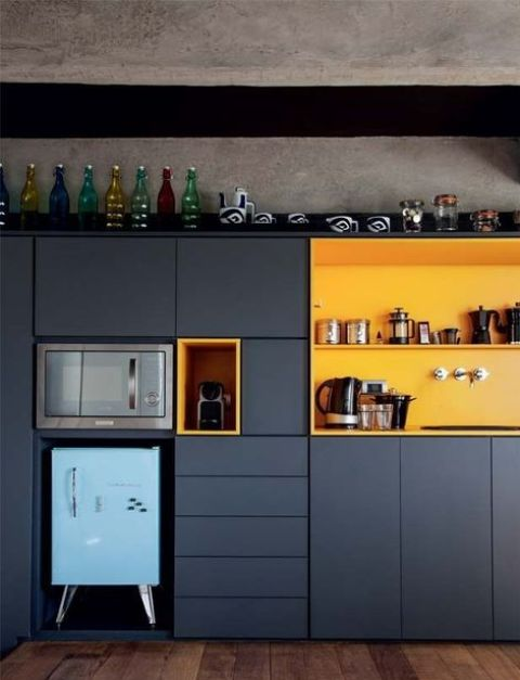 a navy kitchen with yellow compartments is color block piece itself and is a bold statement