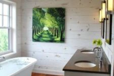 02 a rustic bathroom done with whitewashed pine walls with knots looks very inviting and relaxed