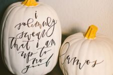 02 these cool Harry Potter inspired pumpkins with calligraphy are right what you need for a fresh feel at Halloween