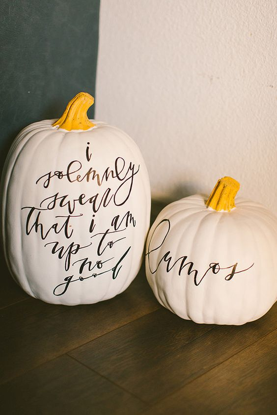 these cool Harry Potter inspired pumpkins with calligraphy are right what you need for a fresh feel at Halloween