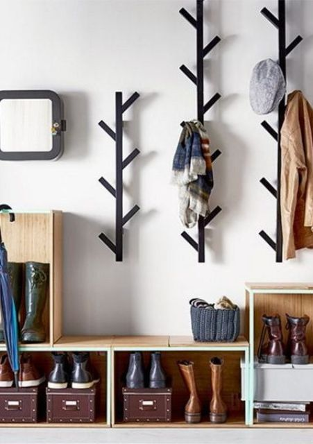 wall-mounted tree coat racks look catchy and can accommodate a lot of clothes and accessories