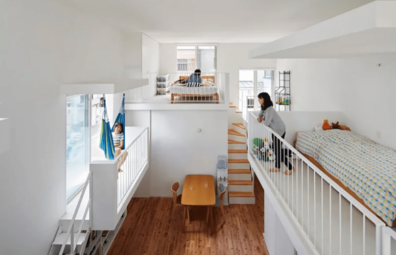 One balcony features a hammock and the main advantage of such a layout is that each space receives much natural light from the windows