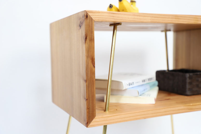 TEN is an open storage unit and you may also place some objects on the tabletop