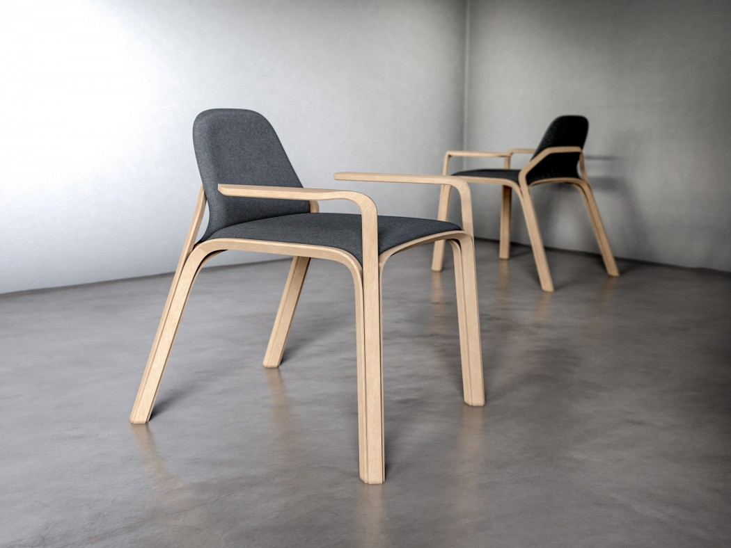 The chair is made of oak and dark grey felt, which contrast each other