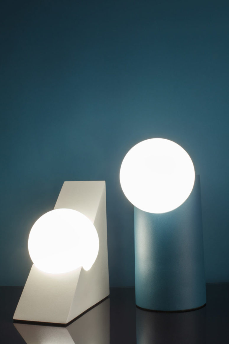 There are black, white, pink and teal and the bold shapes and lines make them lamps stand out