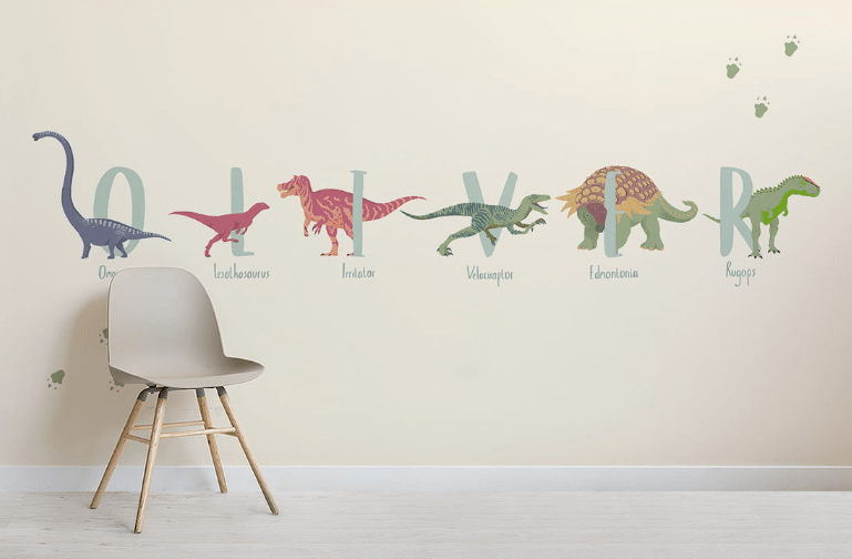 Watch your kids writing their names using dinosaurs' names