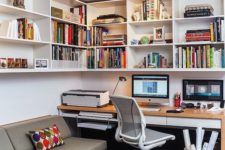 home office with lots of wall storage