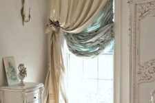 03 layered heavy silk curtains will make your window more insulated and you'll feel warmer