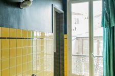 03 navy wallpaper paired with sunny yellow tiles plus a green curtain make the bathroom super bright and eye-catchy