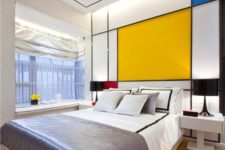 04 a color block headboard wall and a matching rug is a great idea to fill your bedroom with color in a stylish way