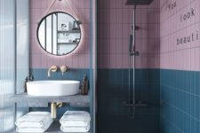 04 dusty pink and teal are an elegant combo for a bathroom and they look good with grey and gold fixtures that are present