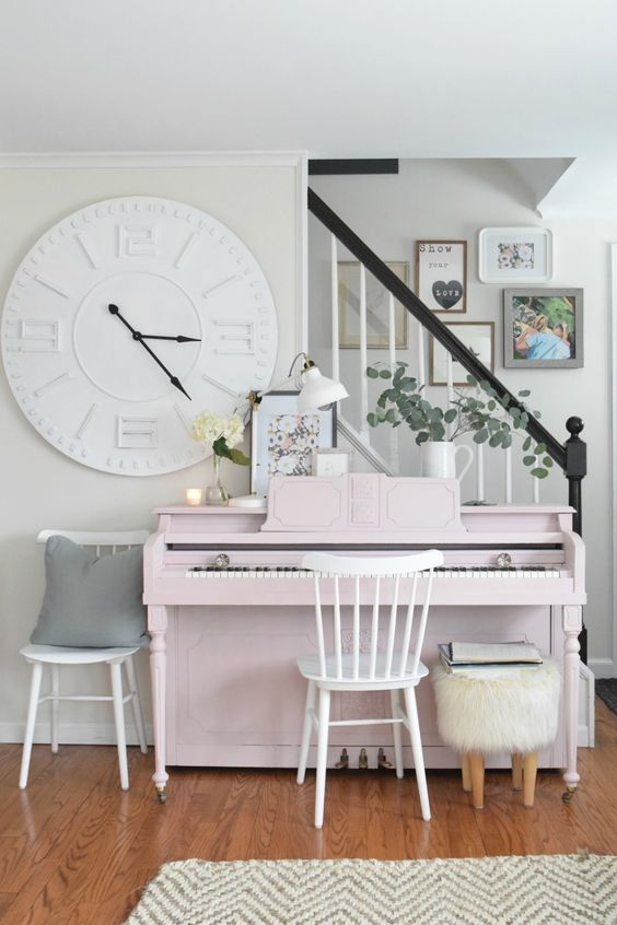 if your interior is neutral or subtle, paint your piano blush or other pastel tone to match the space