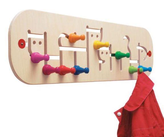 move the colorful pegs on this coat hook to accomodate different sized hanging items   a very whimsy idea to try