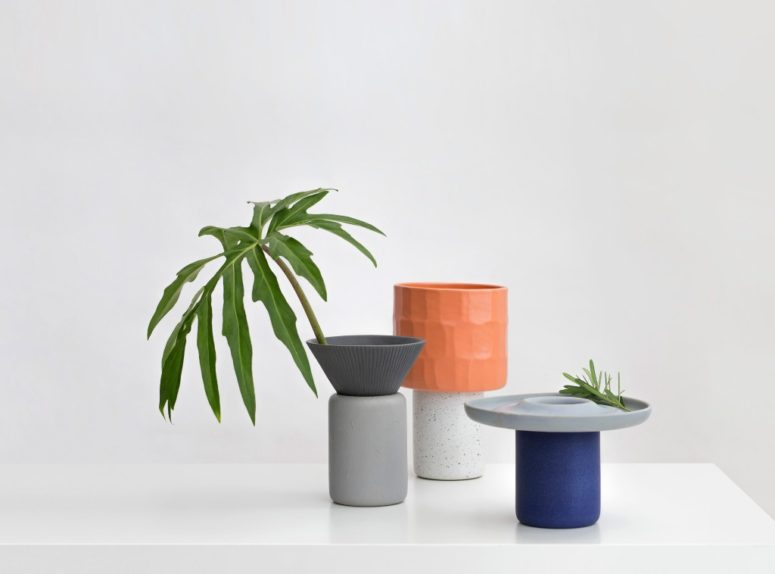The Lid vases are composed of identical cylindrical bases with three variations of lid