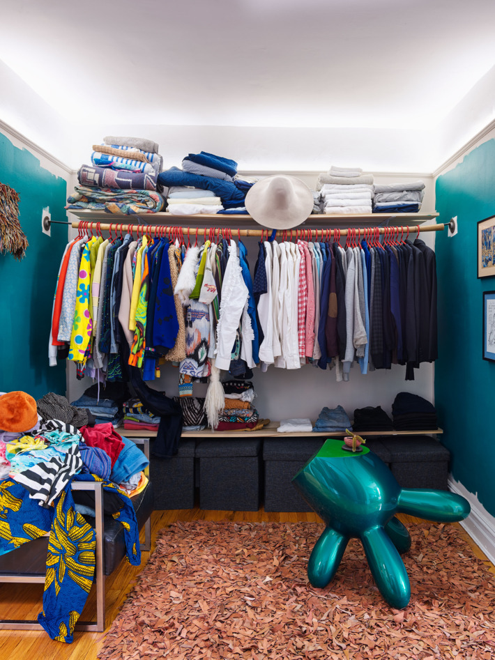 The closet is rather small yet crazy in its own way, too, there's much clothes and accessories