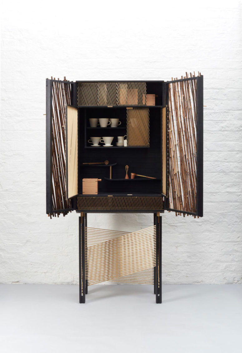 The parts inside are covered but sheer and so are the doors of the cabinet, too, rough but elegant