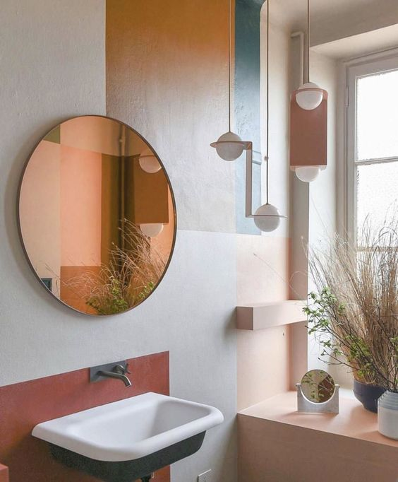 creative color blocking done with paint makes the bathroom eye-catchier