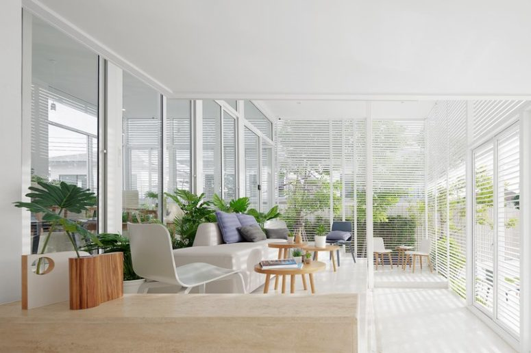 It's a comfy sunroom with aluminum screens that provide enough sunlight filtering