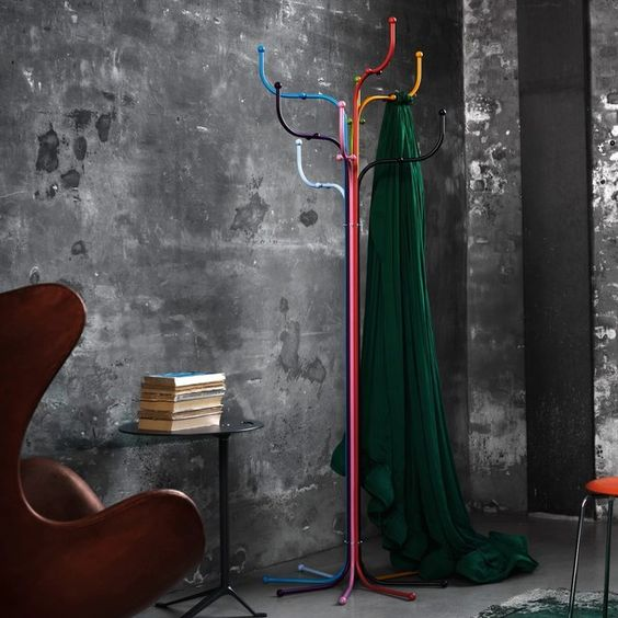 a metal multicolor tree coat stand is a bold touch to your entryway and a fun take on traditional coat trees