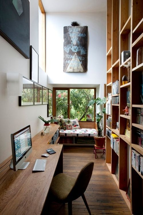 even a long and narrow home office can accommodate everything you may need and give you cool views