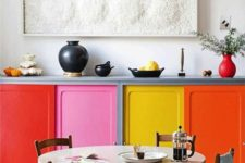 06 jazz up even the tiniest kitchen with bright cabinets, each of a different color and shade