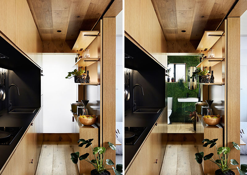 There's a comfy shelving unit that doesn't  take much space