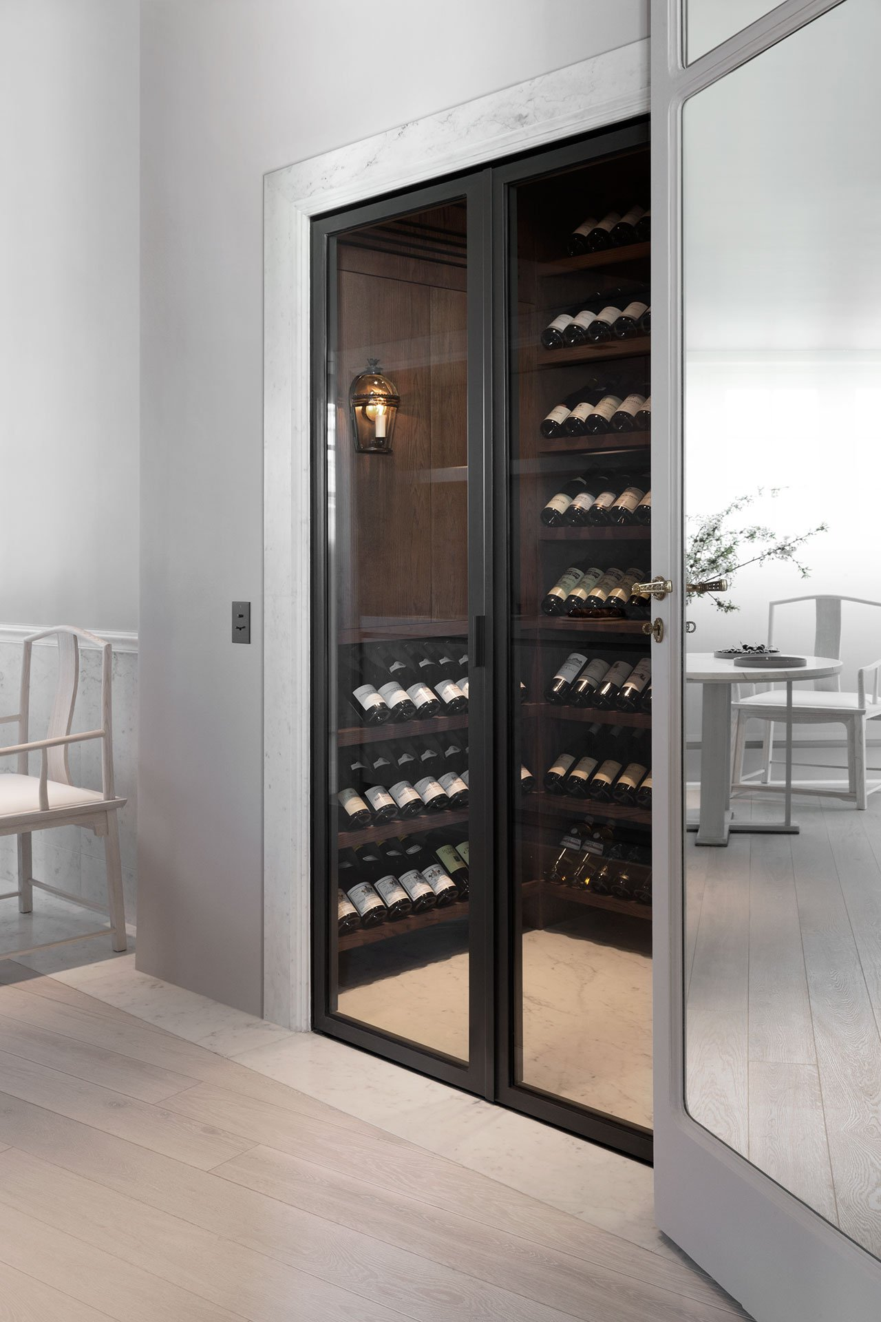 compact yet practical wine storage for a kitchen