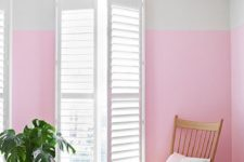 07 a color blocked wall in white and pink is a bold and bright idea to cheer up the space