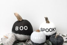 07 make a display of cool  black and white glitter pumpkins with vinyl letters – they are veyr easy to DIY