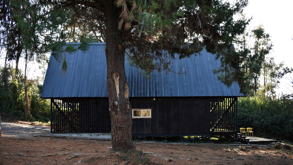 The frame of the house has water and fire resistant qualities and black wood outside helps to heat up the cabin with sunlight