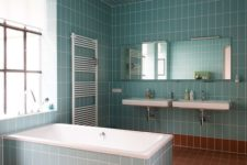 08 a light blue and rust bathroom fulled clad with tiles and diluted with whites here and there
